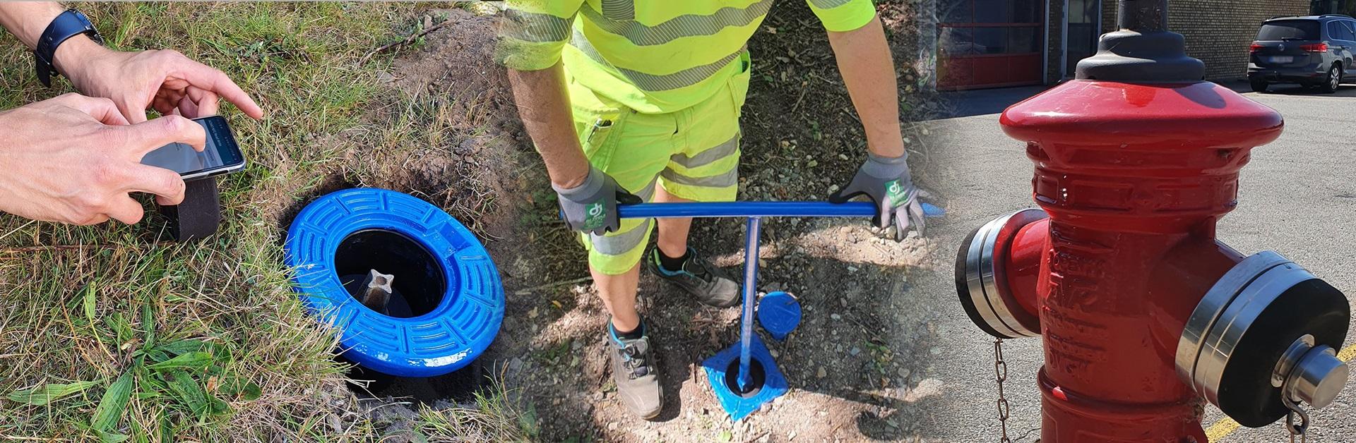 AVK Smart Water installasjonsfoto Posisjonssensor og Hydrantlokk